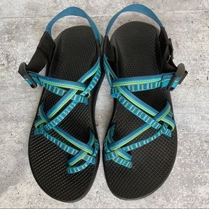 CHACO Blue Double Strap Toe Loop Sport Sandals 9